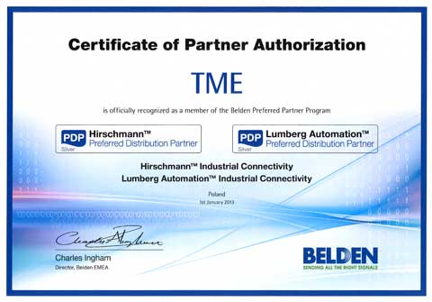 TME becomes BELDEN'S preferred distribution partner