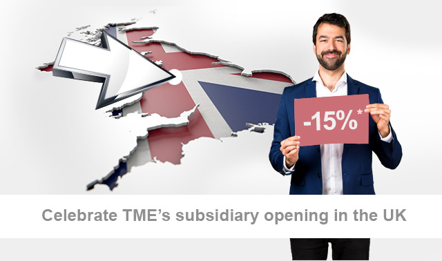 Up to 15% off to celebrate the opening of our British subsidiary